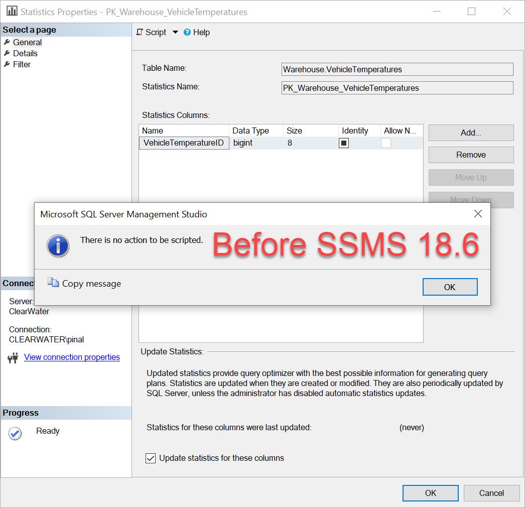 SQL SERVER Management Studio - Update Column Statistics Via SSMS ssms186-1