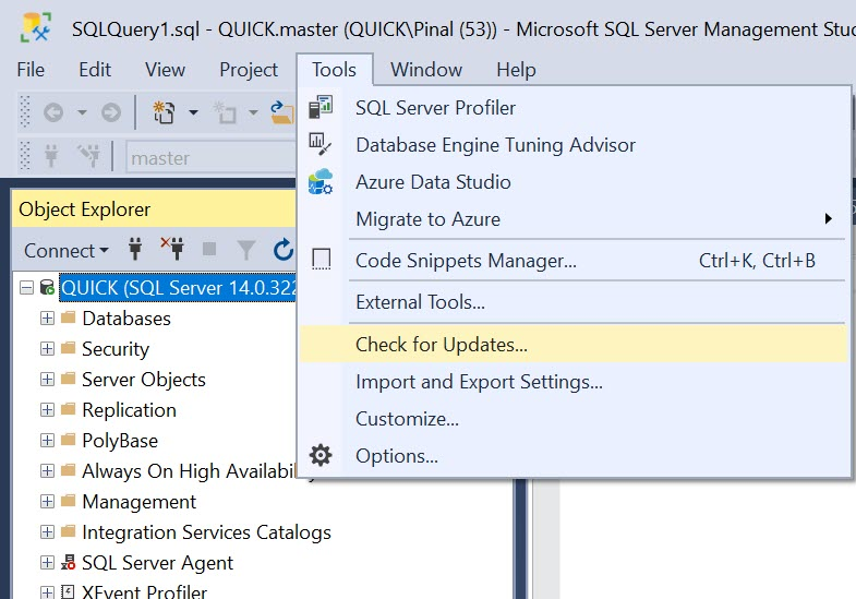 SQL SERVER - Check for Update in SSMS ssmsupdate1