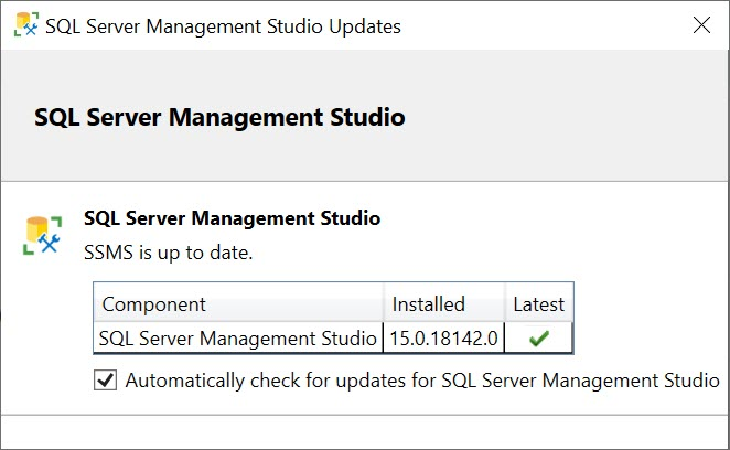 SQL SERVER - Check for Update in SSMS ssmsupdate2