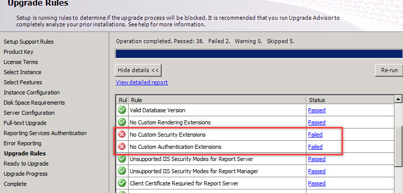 SQL SERVER - Upgrade Rule Failure Error: No Custom Security Extensions ssrs-upg-err-01