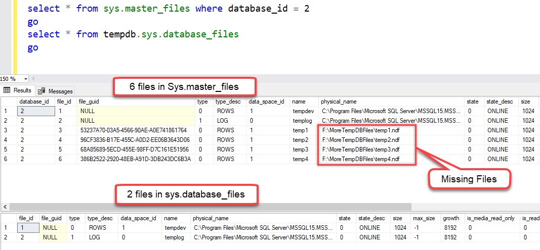 SQL SERVER - Mismatch Between sys.database_files and sys.master_files For TempDB Database tempdb-missing-01