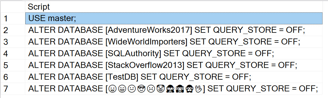 SQL SERVER - Turning OFF or ON Query Store for All the Database turningoff1