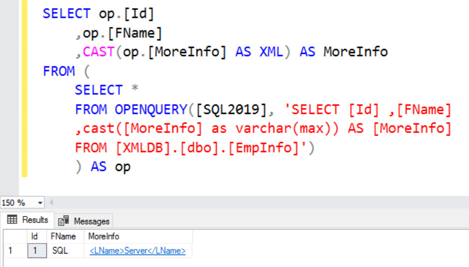 SQL SERVER - FIX: Msg 9514 - XML Data Type is Not Supported in Distributed Queries xml-err-02