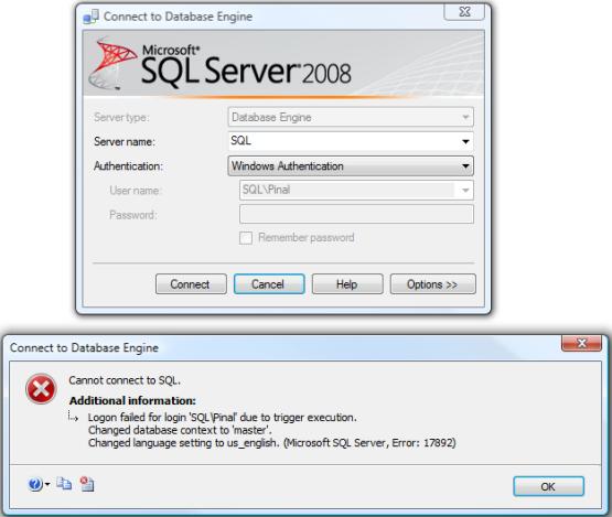 SQL SERVER - Fix : Error : 17892 Logon failed for login due