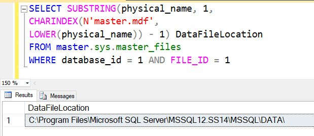 SQL SERVER - Find Location of Data File Using T-SQL datafilelocation