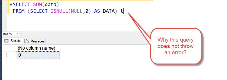 SQL SERVER - Puzzle Involving NULL - Resolve - Error - Operand data type void type is invalid for sum operator isnullerror