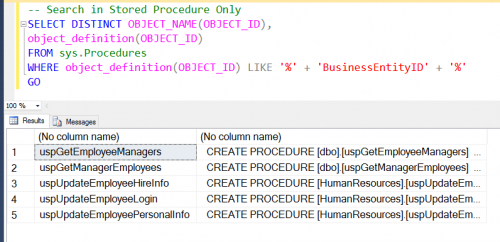 SQL SERVER - Find Column Used in Stored Procedure - Search Stored Procedure for Column Name - Part 2 findsp-500x242