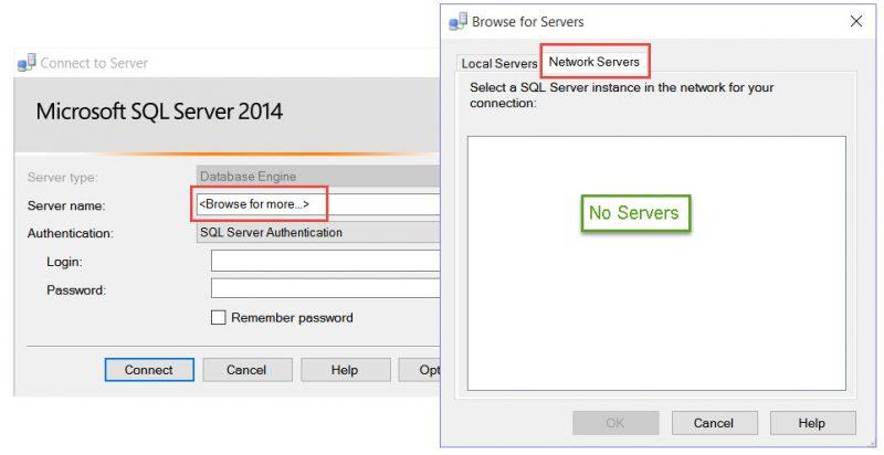 SQL SERVER - Network Servers List is Empty in SQL Server Management Studio empty-01-800x412