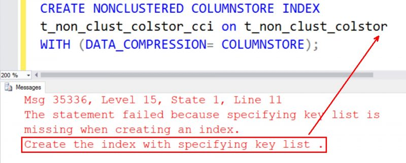 SQL SERVER - Fix Error Msg 35336 Working with ColumnStore Indexes NCCI-Error-35336-01-800x321