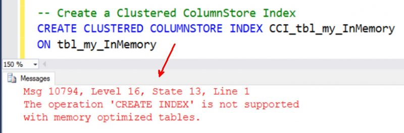 SQL SERVER - Fix Error Msg 10794, Level 16 - The operation 'CREATE INDEX' is not supported with memory optimized tables. error-cci-inmemory-800x264