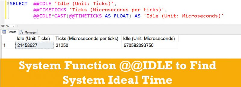 SQL SERVER - System Function @@IDLE to Find System Ideal Time idel-timeticks-800x291