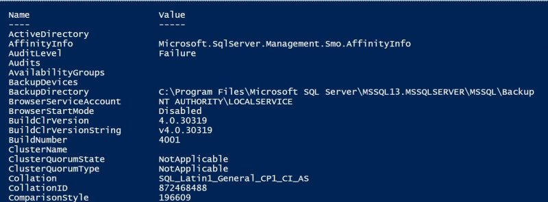 SQL Server - PowerShell Script - Getting Properties and Details server-details-ps-01-800x296