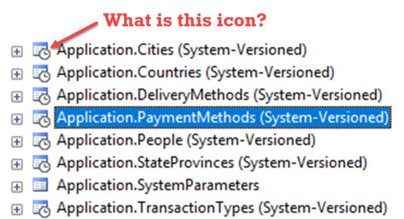Special Icon on System-Versioned Table in SQL Server 2016 - Interview Question of the Week #101 systemversioned-800x435