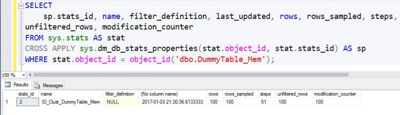 SQL SERVER - Using dm_db_stats_properties With InMemory OLTP Tables db_stats_properties-01-800x231