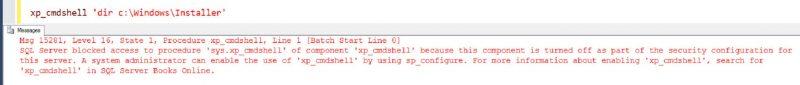 SQL SERVER - FIX: Msg 15281- SQL Server Blocked Access to Procedure 'sys.xp_cmdshell' of Component 'xp_cmdshell' xp_cmd-error-01-800x85