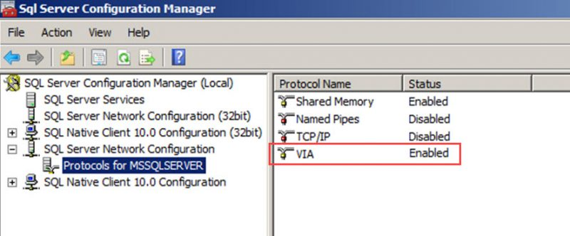 SQL SERVER - FIX: The SQL Server Failed to Initialize VIA Support Library [QLVipl.dll] via-error-01-800x332