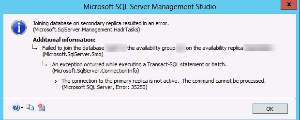 SQL SERVER - FIX: Msg 35250, Level 16, State 7 - The Connection to the Primary Replica is Not Active. The Command Cannot be Processed ag-join-01