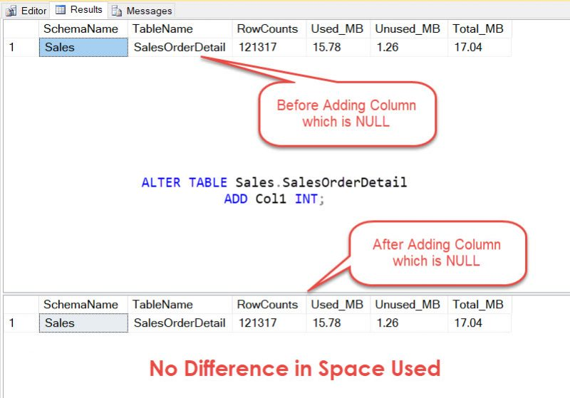 Sql server observation adding a null column and table - Sql server alter table add column default ...