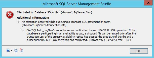 SQL SERVER – Msg 1833 – File Cannot be Reused Until After the Next BACKUP LOG Operation