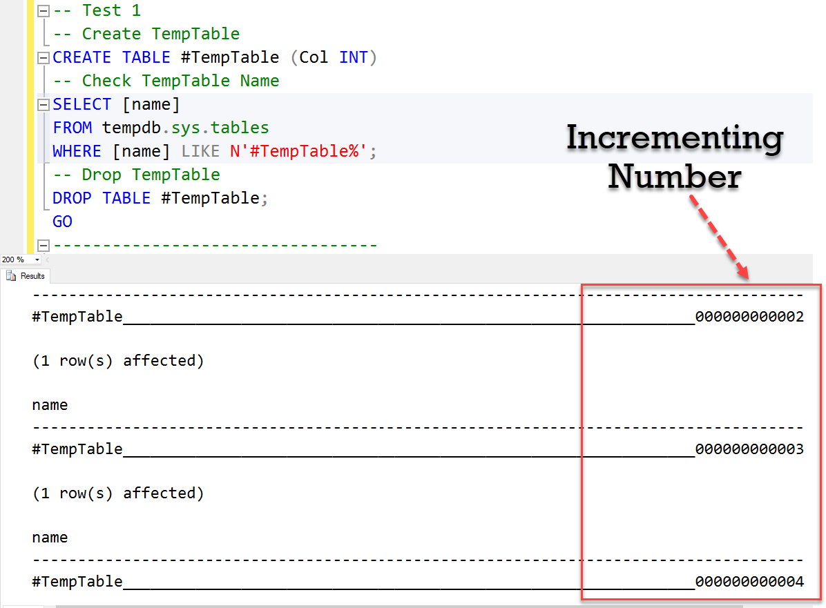 SQL SERVER - Interesting Observation - Count of Temporary Table Re