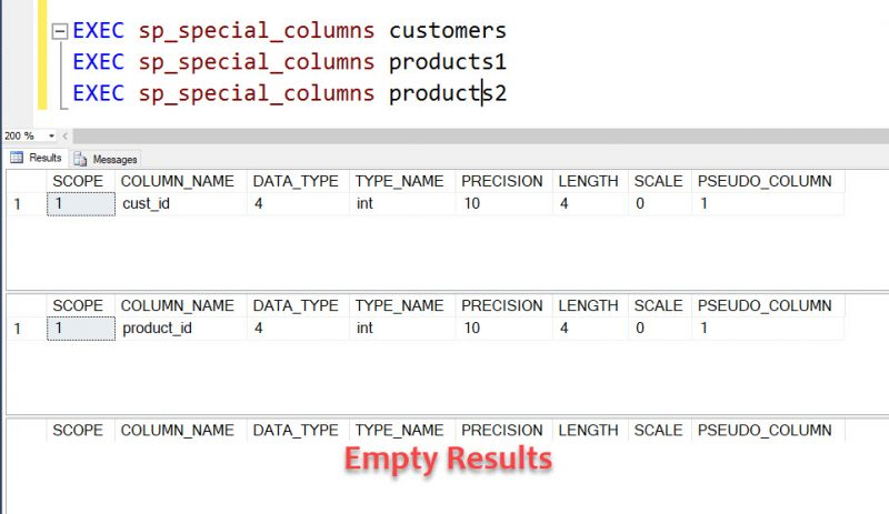SQL SERVER - How to Find UNIQUE Key Columns? - sp_special_columns sp_special_columns-customers-800x463