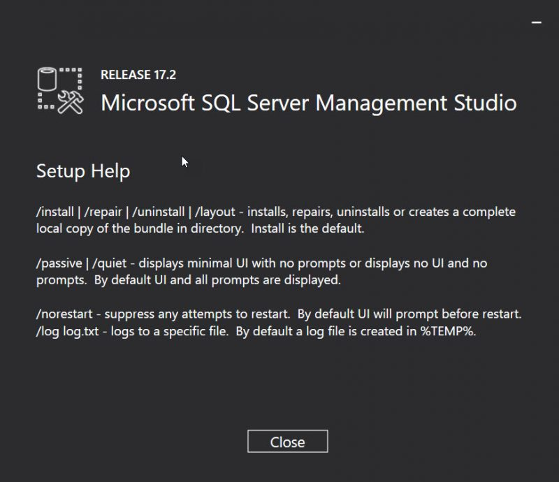 SQL SERVER - How to Install SQL Server Management Studio (SSMS) From Command Line? ssms-cmd-setup-01-800x690