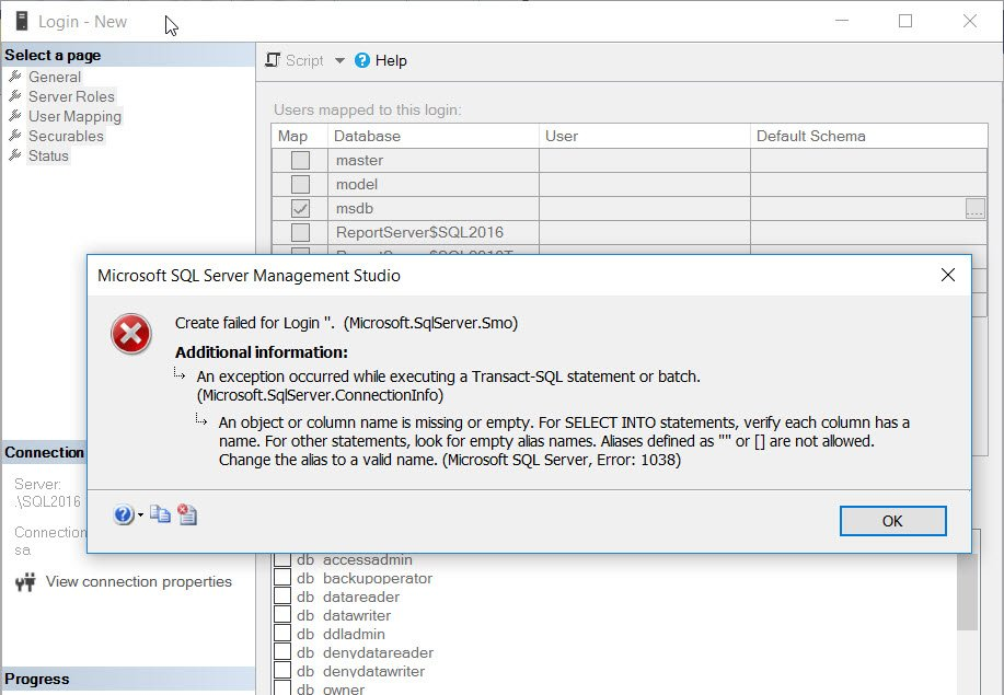 SQL SERVER - Msg 1038 - An Object or Column Name is Missing