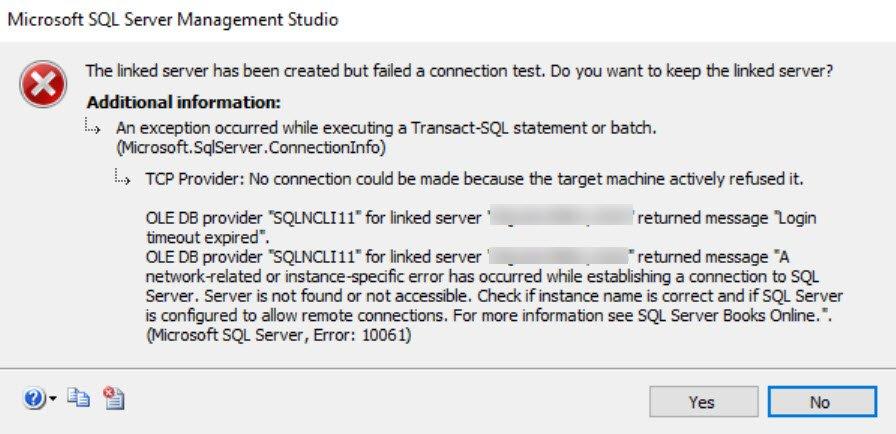 SQL SERVER - Linked Server Error: TCP Provider: No