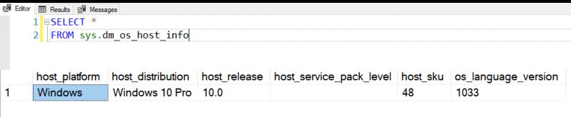 SQL SERVER - DMV to Get Host Information - sys.dm_os_host_info dmoshostinfo-800x165
