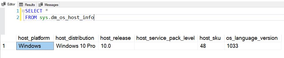 SQL SERVER – DMV to Get Host Information – sys.dm_os_host_info