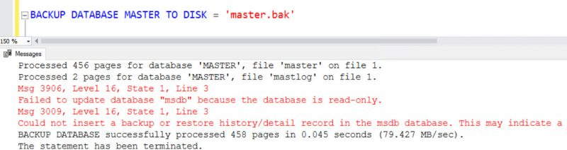 SQL SERVER - FIX: Msg 3009 - Could Not Insert a Backup or Restore History Detail Record in the MSDB Database msdb-err-3009-01-800x212