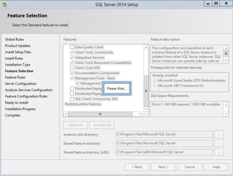 SQL SERVER - Installation Wizard Hang Forever - Please Wait on Feature Selection Page setup-hang-please-wait-01-800x604