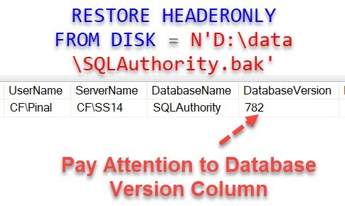 SQL SERVER - Identify Version of SQL Server from Backup File databseversion