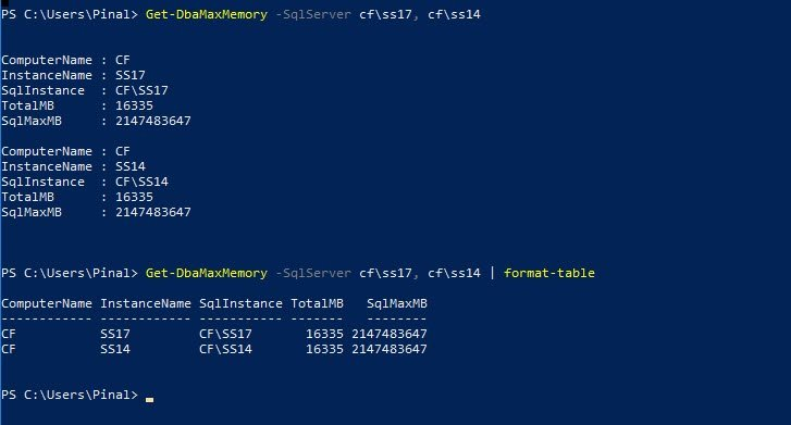 PowerShell - Get Maximum Memory of Server with dbatools Get-DbaMaxMemory