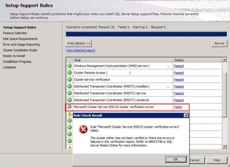 Sql Server Install Error Microsoft Cluster Service Mscs Cluster