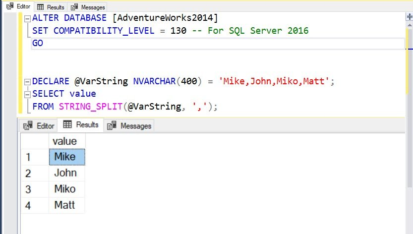 SQL SERVER - Fix Error: Invalid object name STRING_SPLIT - SQL