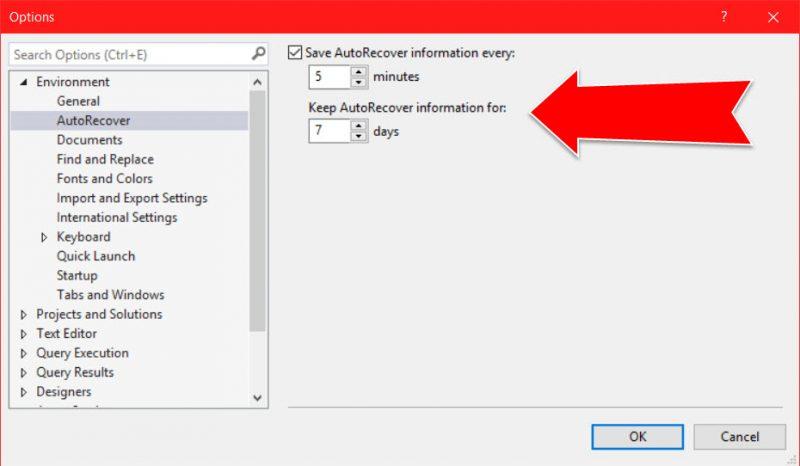 SQL SERVER - Save Auto Recover Information - SSMS autosave-800x466