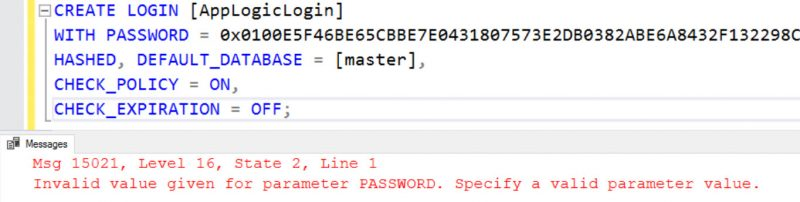 SQL SERVER - Transfer Logins Error: Msg 15021: Invalid Value Given for Parameter Password invalid-pwd-err-01-800x202