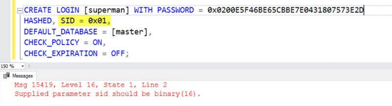 SQL SERVER - Transfer Logins Error: Msg 15419: Supplied Parameter sid Should be Binary(16) - sp_help_revlogin move-login-err-01-800x218