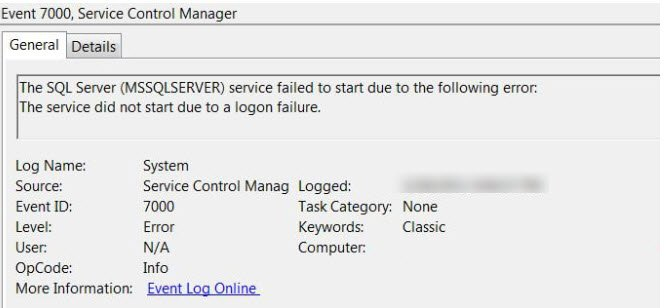 sql server gmsa the service did not start due to a logon failure