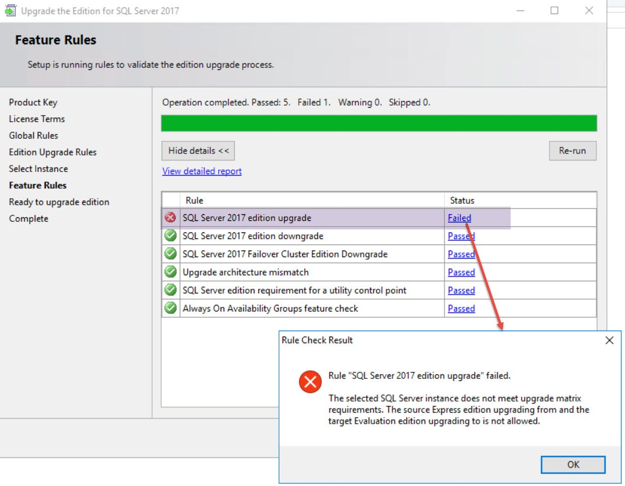SQL SERVER - Upgrade Blocked: The Specified Edition Upgrade