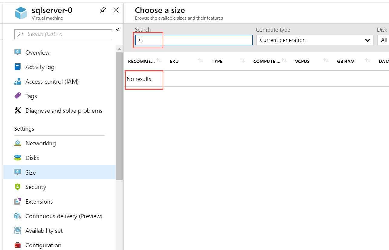 SQL SERVER - Microsoft Azure - Unable to Find Higher Tier Series Virtual Machine to Upgrade vm-size-err-01