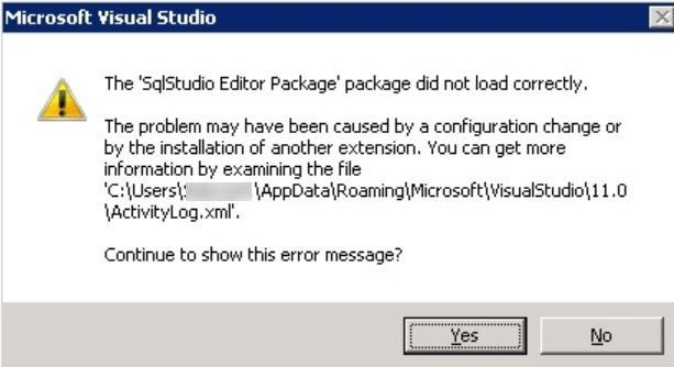 Visual Studio - FIX: The 'SqlStudio Profile Package' Package Did Not Load Correctly ssdt-err-01