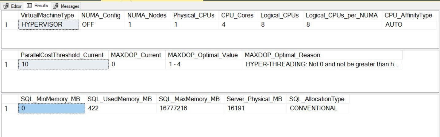 SQL SERVER - Audit Script to Get CPU and Memory Information with MAXDOP Guidelines cpumemoryaudit