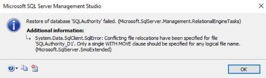 SQL SERVER - FIX: Msg 4353 - Conflicting File Relocations Have Been Specified for File. Only a Single WITH MOVE Clause Should be Specified for Any Logical File Name conflict-err-01