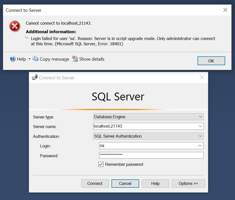QnA VBage SQL SERVER – Fix Error – Login failed for user. Reason: Server is in script upgrade mode. Only administrator can connect at this time. (Microsoft SQL Server, Error: 18401)