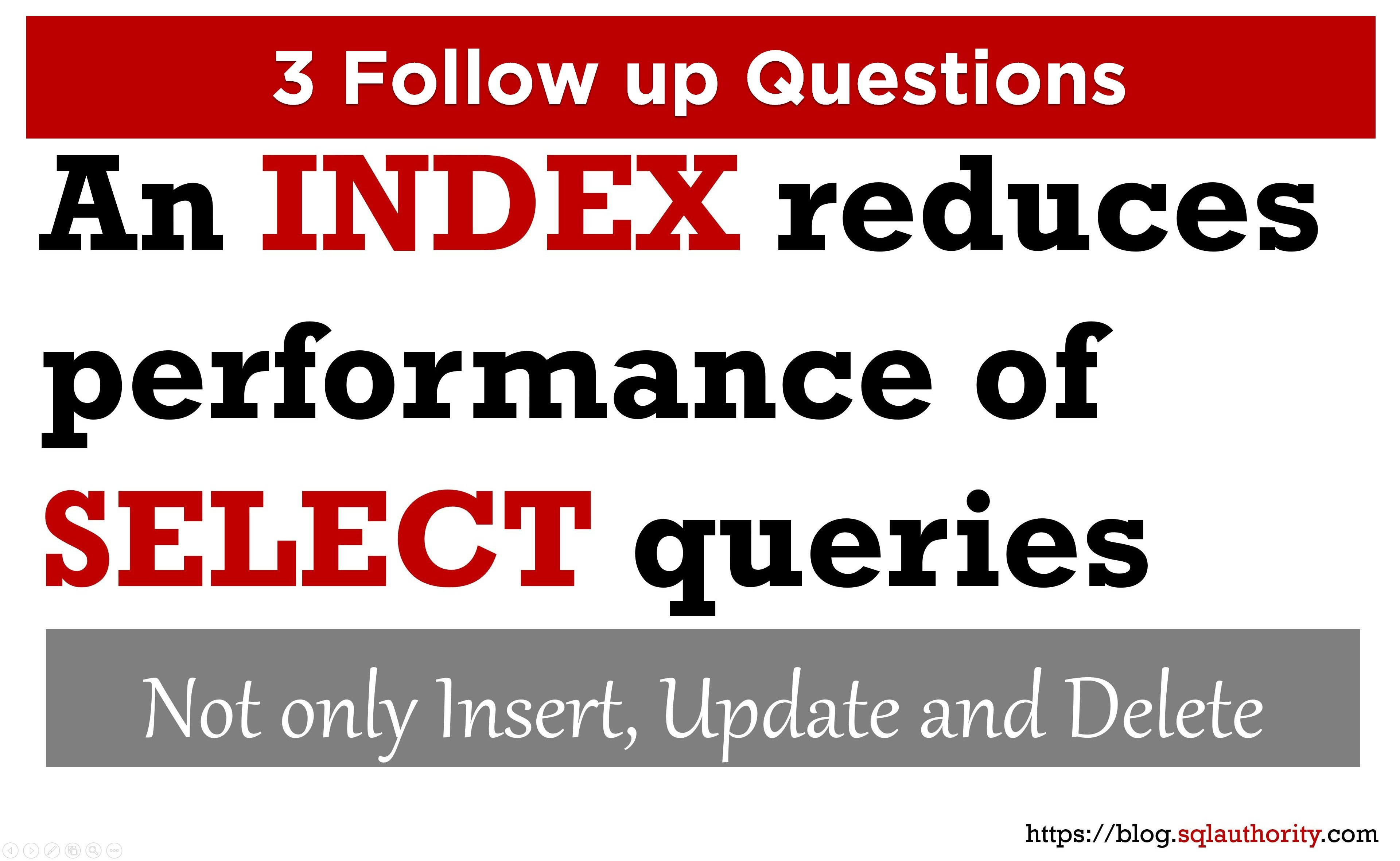 SQL SERVER - 3 Questions: An Index Reduces Performance of SELECT