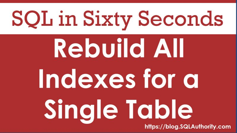 Rebuild All Indexes for a Single Table - SQL in Sixty Seconds #086 86-RebuildAll-800x449