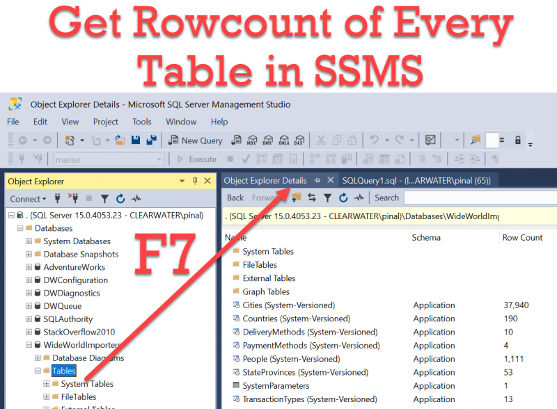 How to Get Rowcount of Every Table in SSMS? - Interview Question of the Week #288 getrowcount0-800x588