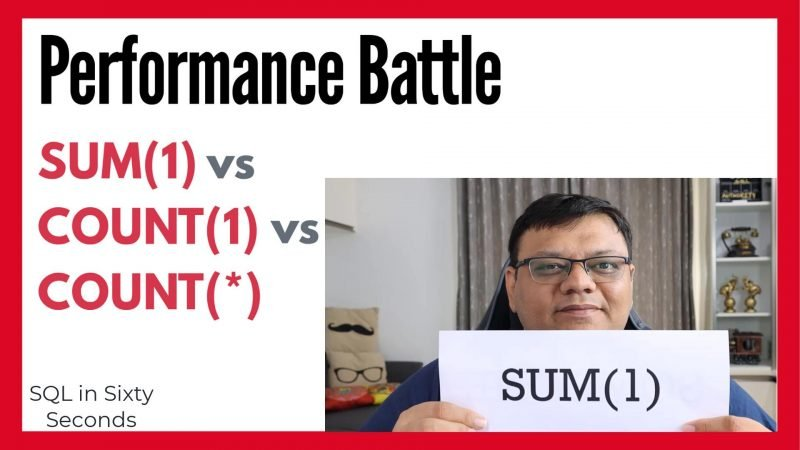SUM(1) vs COUNT(1) Performance Battle - SQL in Sixty Seconds #177 177-SomeOne-main-yt-800x450